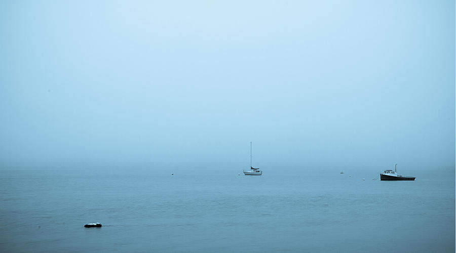 Boat Photograph - Fog on the Bay by Linda C Johnson