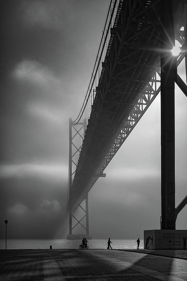 Bridge Photograph - Fog On The Tejo River by Fernando Jorge Gon?alves