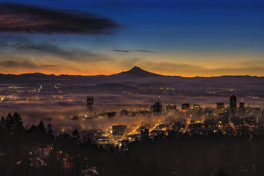 Dawn Photograph - Fog Rolling In At Dawn Over The City Of Portland by David Gn