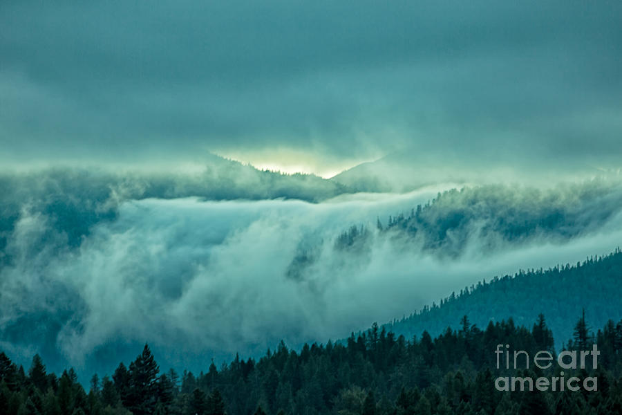 Fog Photograph - Fog Rolling Over The Montana Rocky Mountains by Natural Focal Point Photography