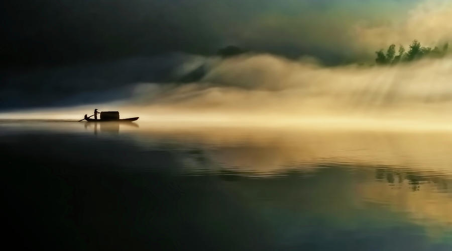 Landscape Photograph - Fog Sprinkle The East River by Hua Zhu