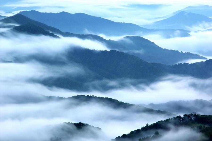 Foggy Appalachian Mountain Ridges Photograph by Brett Maurer
