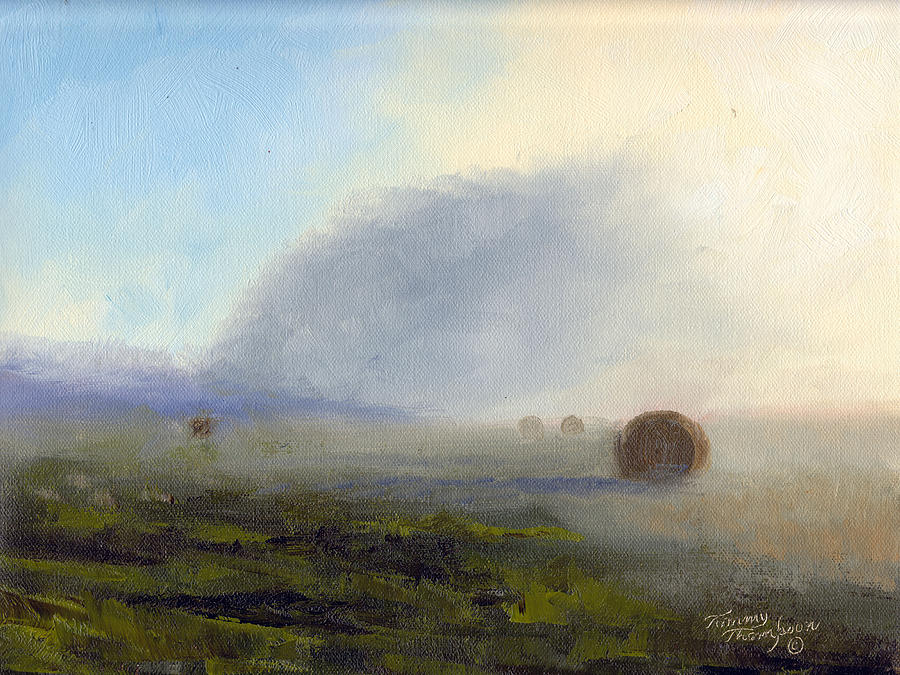 Haybales Painting - Foggy Bales by Tommy Thompson