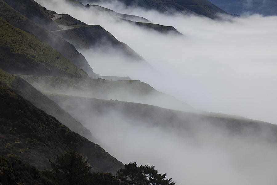 Foggy Photograph - Foggy Coastal Hills by Garry Gay