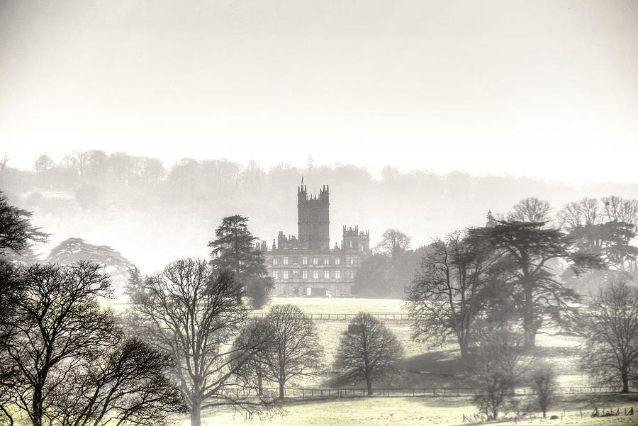 Highclere Castle Photograph - Foggy day at Highclere castle aka Downton Abbey by Peggy Berger