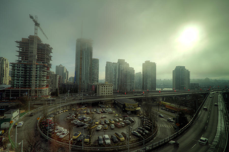 Motion Photograph - Foggy Downtown Vancouver by Eti Reid