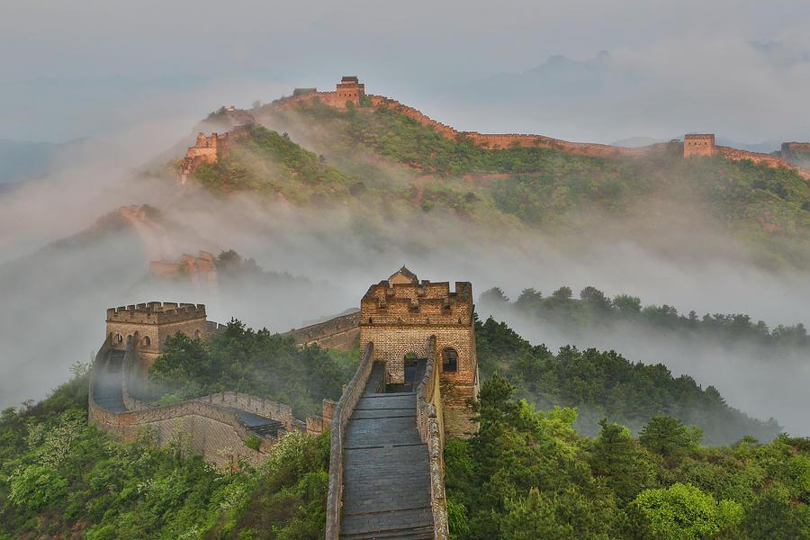 Foggy Morning Along Great Wall  Of China Photograph by Darrell Gulin
