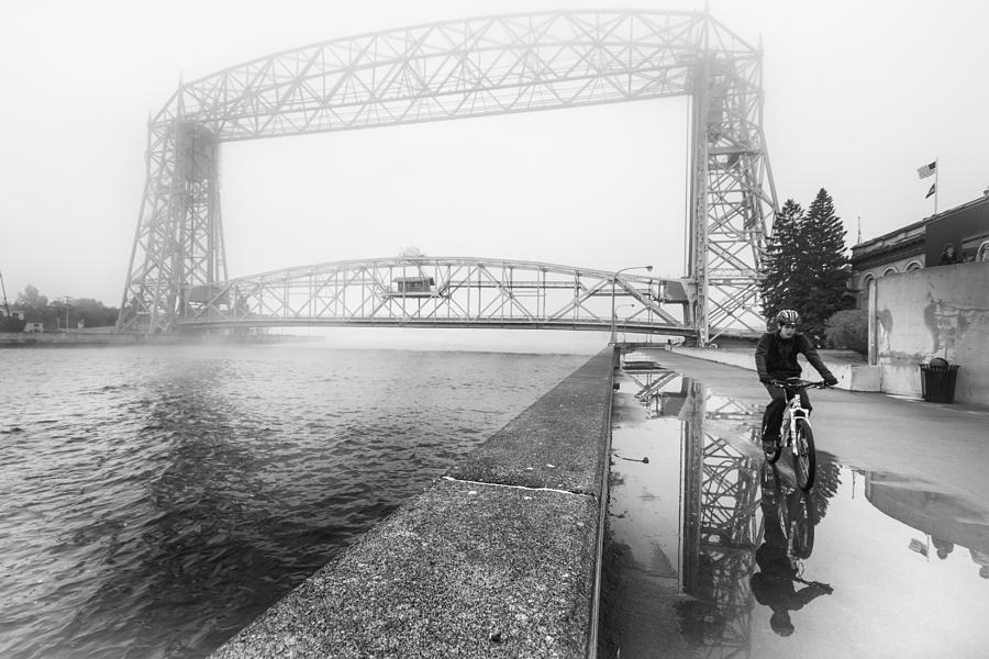 Foggy Morning Bike Ride Photograph
