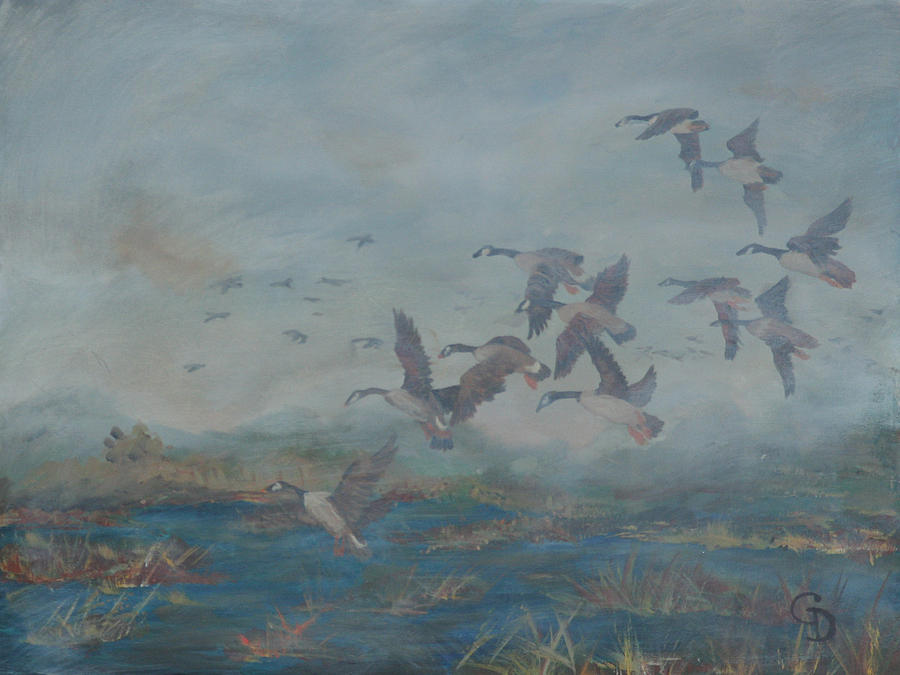 Wetlands Painting - Foggy Morning by Gail Daley