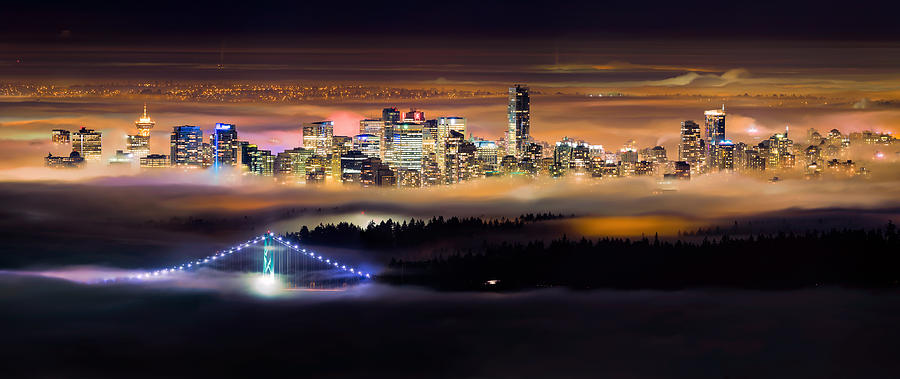 Vancouver Photograph - Foggy Night by Alexis Birkill