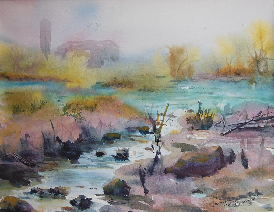 Blue Water Painting - Foggy Stream by Barbara McGeachen
