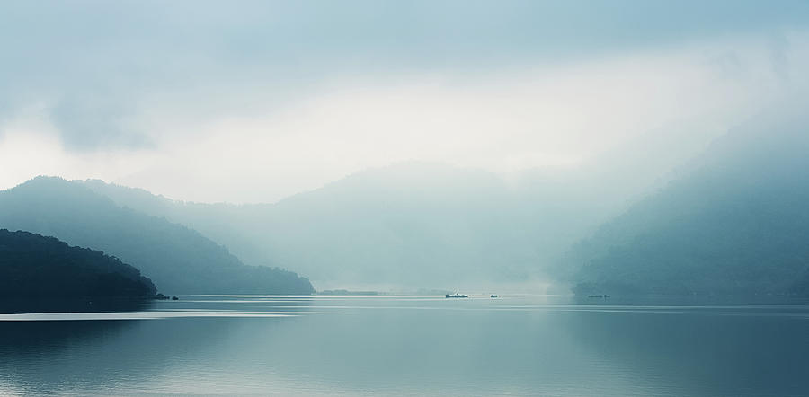 Foggy Sun Moon Lake In The Early Morning Photograph by Jeanl Photography
