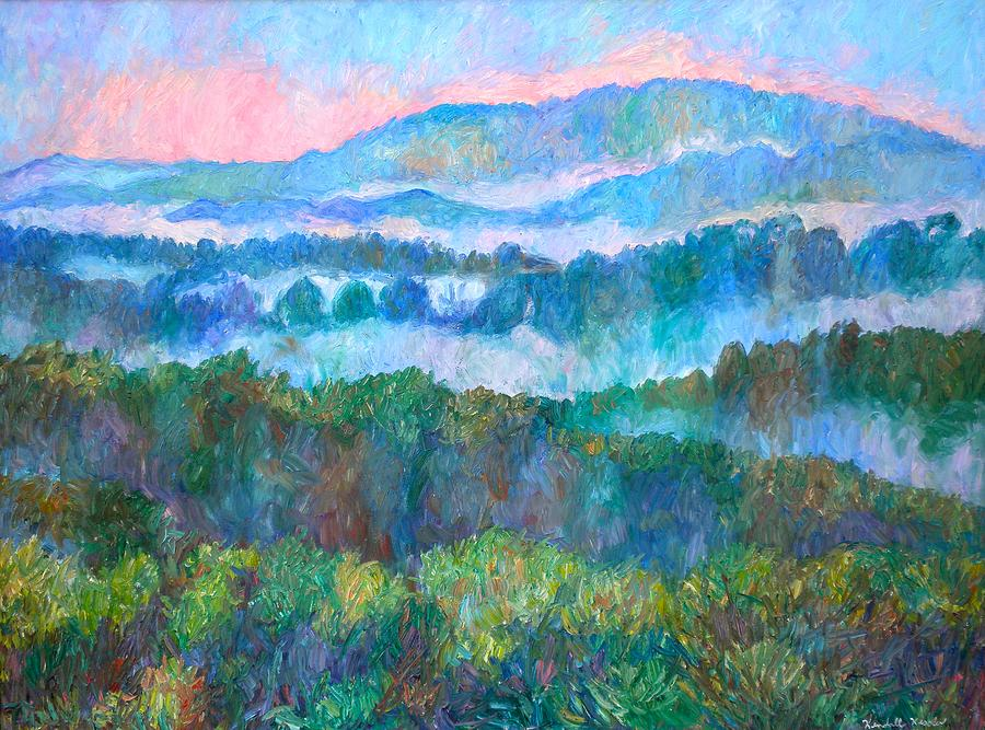 Landscape Painting - Foggy View From Mill Mountain by Kendall Kessler