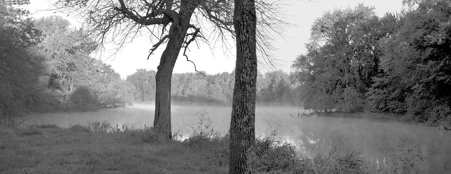 Panorama Photograph - Foggy Waters Bw by Bonfire Photography