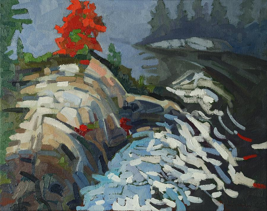 Rapids Painting - Foggy Whitefish Rapids by Phil Chadwick