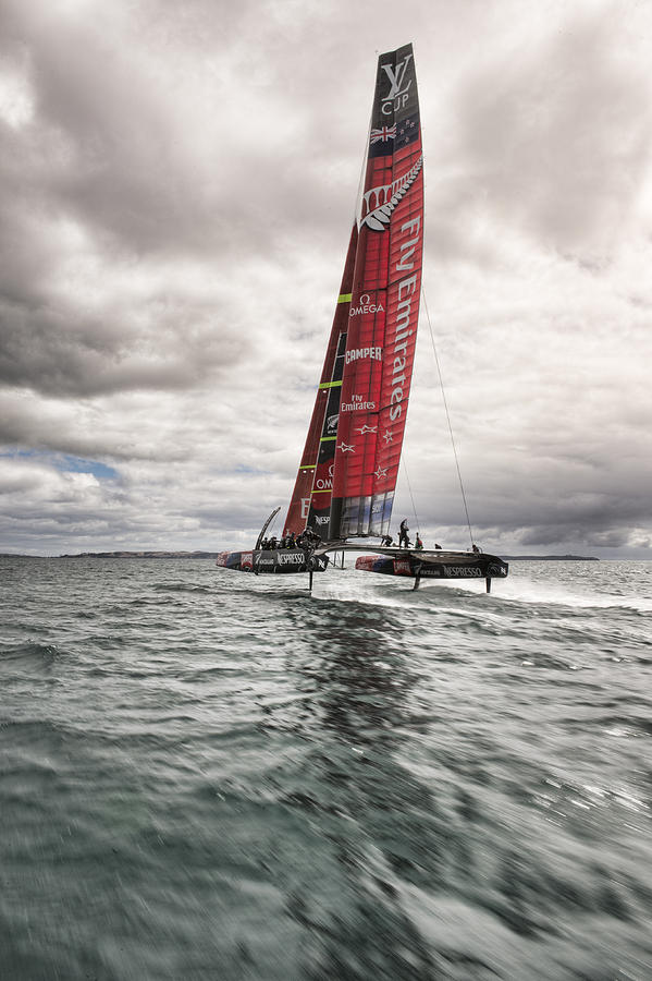America's Cup Photograph - Foiling 2 by Chris Cameron