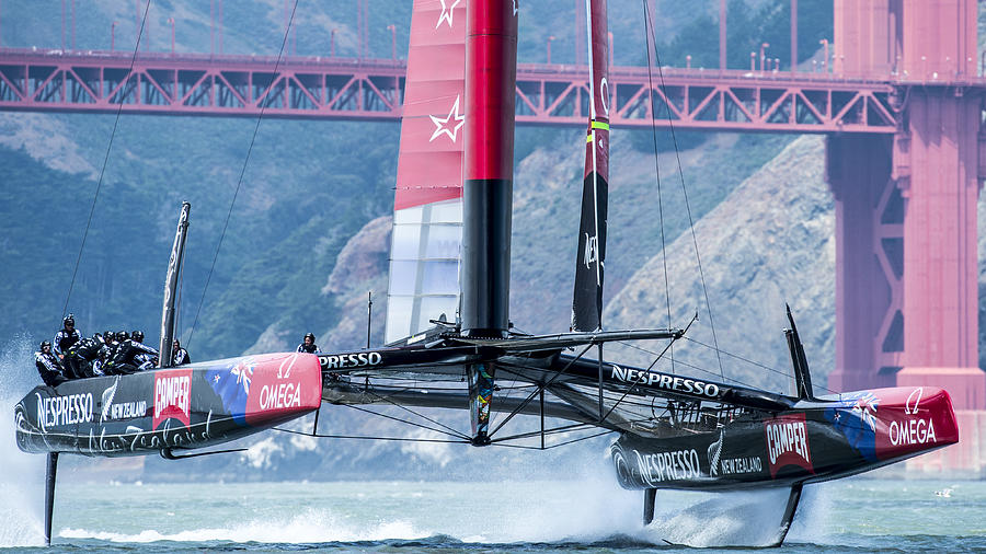 Boat Photograph - Foiling 5 by Chris Cameron
