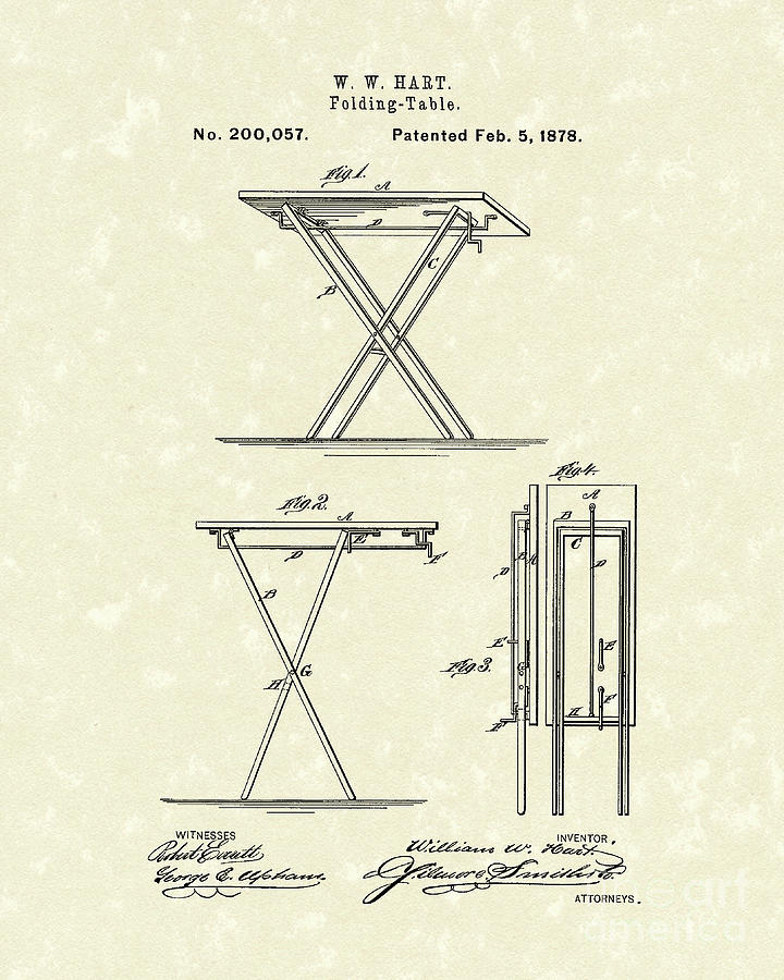 Folding Table 1878 Patent Art Drawing By Prior Design