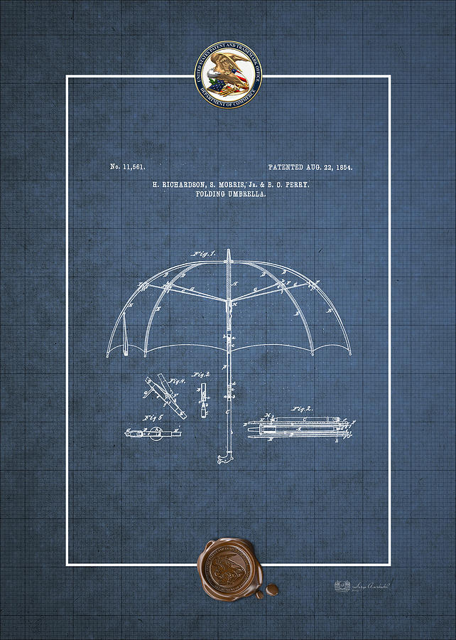 Folding umbrella patent 11561 vintage patent blueprint digital vintage americana digital art folding umbrella patent 11561 vintage patent blueprint by malvernweather Image collections