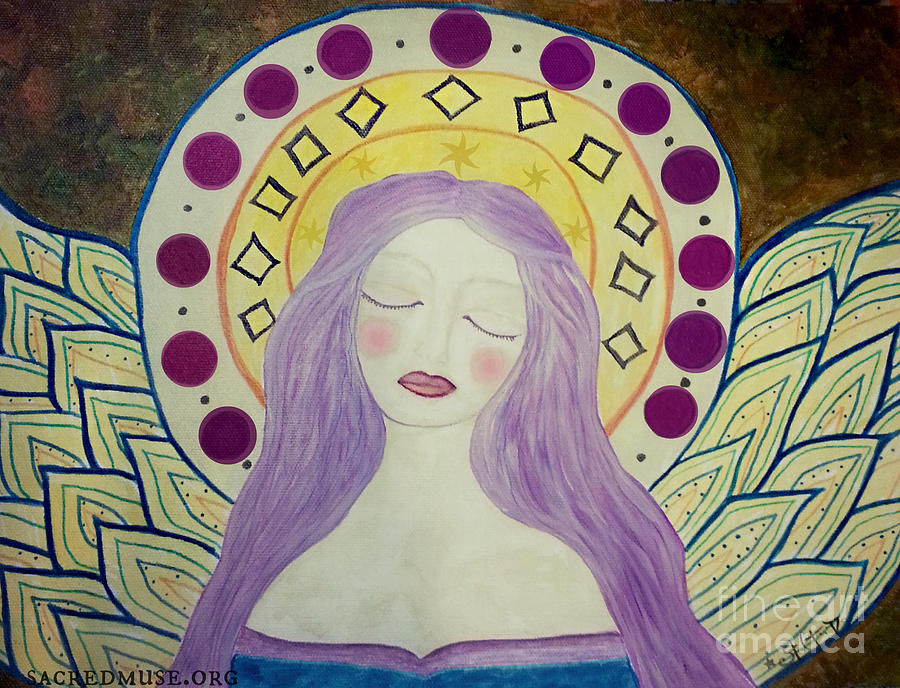 Blessings Painting - Folk Angel Primitive Blessings  by Sacred  Muse