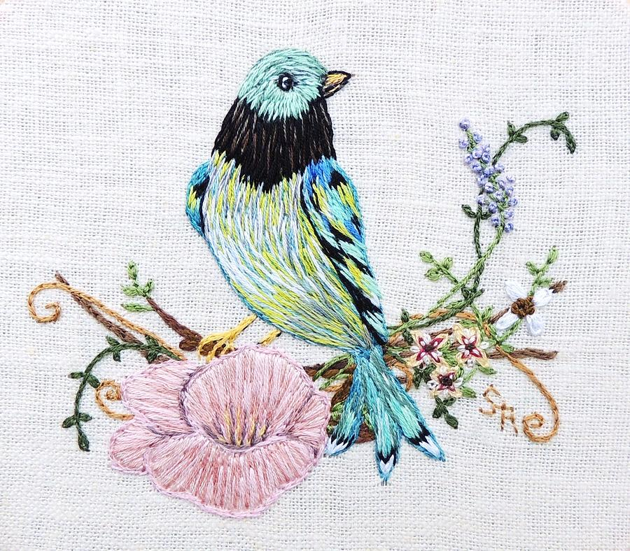 Embroidery Tapestry - Textile - Folk Art Bird Embroidery Illustration by Stephanie Callsen