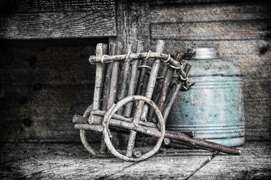 B&w Photograph - Folk Art Cart Still Life by Tom Mc Nemar