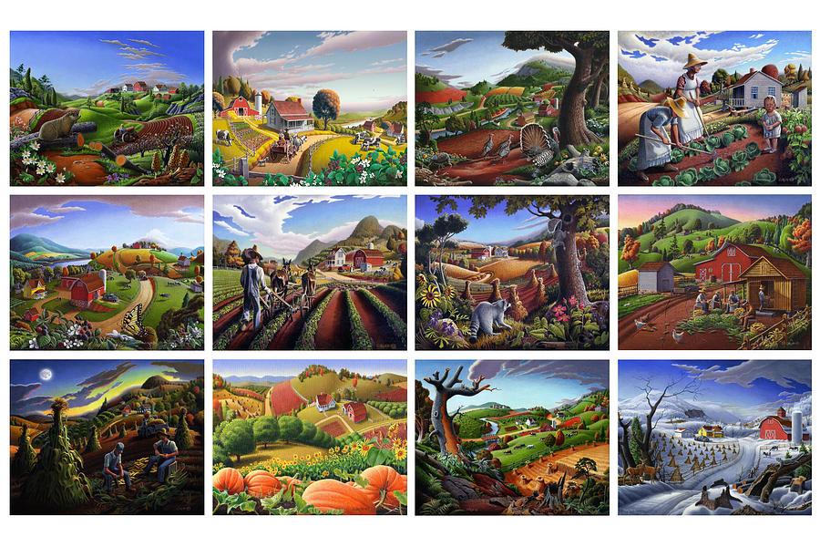 Sampler Painting - Folk Art Seasonal Seasons Sampler Greetings Rural Country Farm Collection Farms Landscape Scene by Walt Curlee