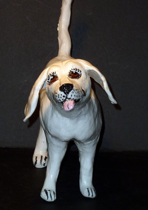 White Dog Sculpture - Folk Art White by Debbie Limoli