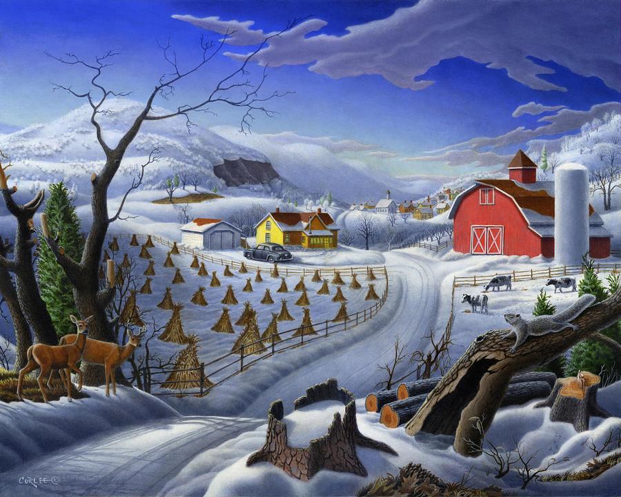 Winter Landscape Painting - Folk Art Winter Landscape by Walt Curlee