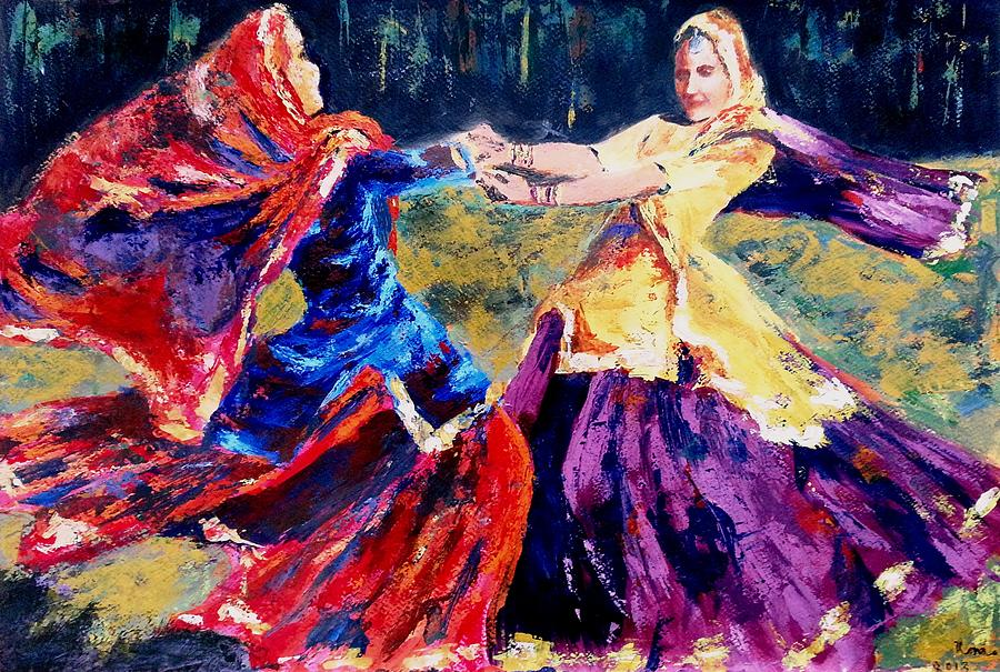 India Painting - Folk Dance Of Punjab   India by Uma Krishnamoorthy