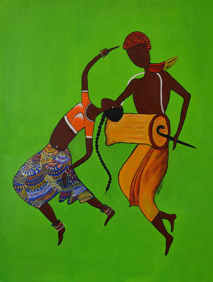 India Painting - Folk Dance by Shruti Prasad