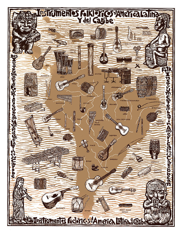 Instruments Mixed Media - Folk Instruments Of Latin America by Ricardo Levins Morales