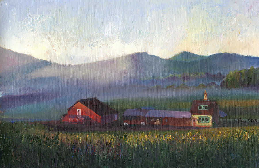 Surrealist Painting - Folk School Barn At Dawn by William Killen