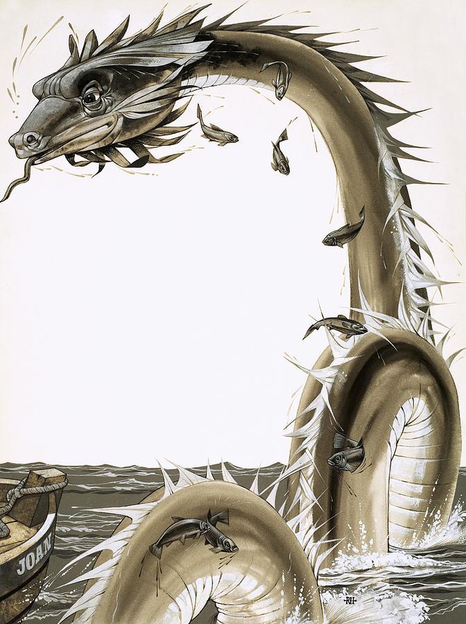 Folk Tale Drawing - Folk Stories Of America Sea Serpent by Richard Hook