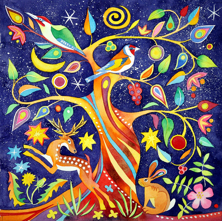 Tree Painting - Folk tree by Jane Tomlinson