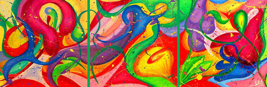 Abstract Painting - Follow Me Triptych by Julia Fine Art And Photography