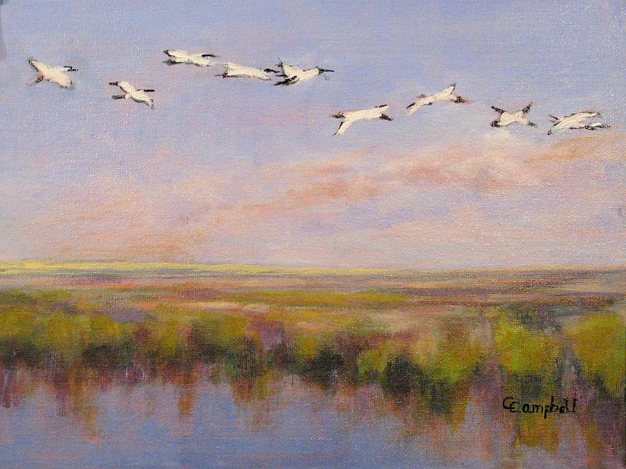 Stork Painting - Follow the Leader by Cecelia Campbell