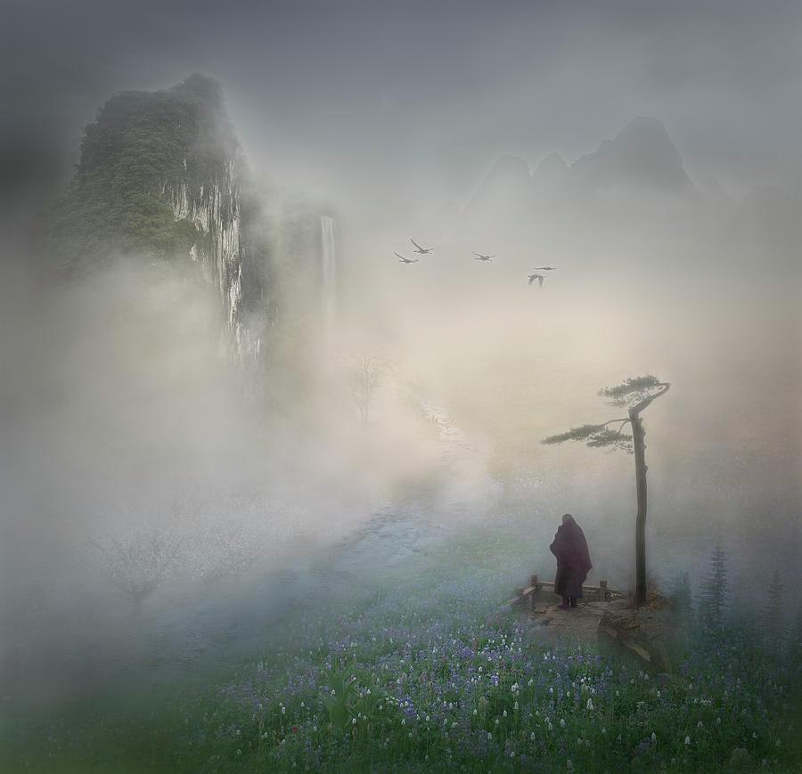 Zen Photograph - Follow The River To Where It Starts by Shenshen Dou