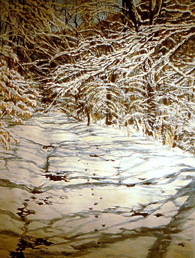 Snow Scene Painting - Following Max by Thomas Akers