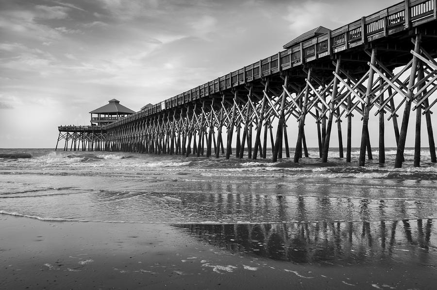 Charleston south carolina photograph folly beach pier in black and white by curtis cabana