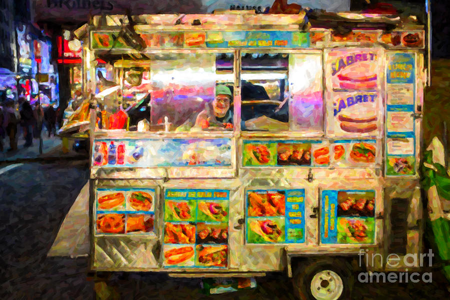 Hot Dog Cart Photograph - Food Cart In New York City by Diane Diederich