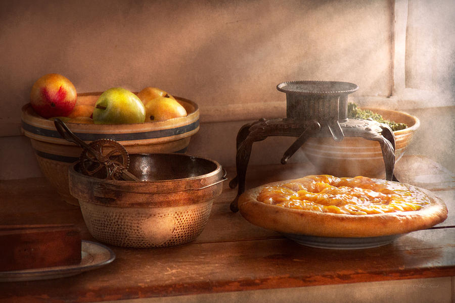 Peach Photograph - Food - Pie - Mamas Peach Pie by Mike Savad