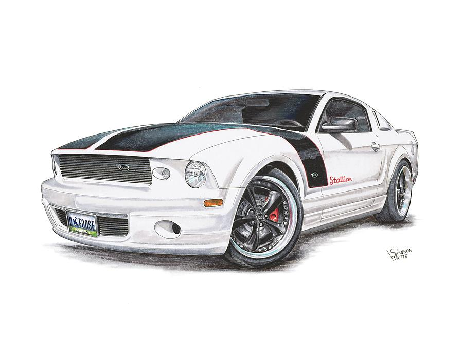 Foose Mustang Drawing By Shannon Watts