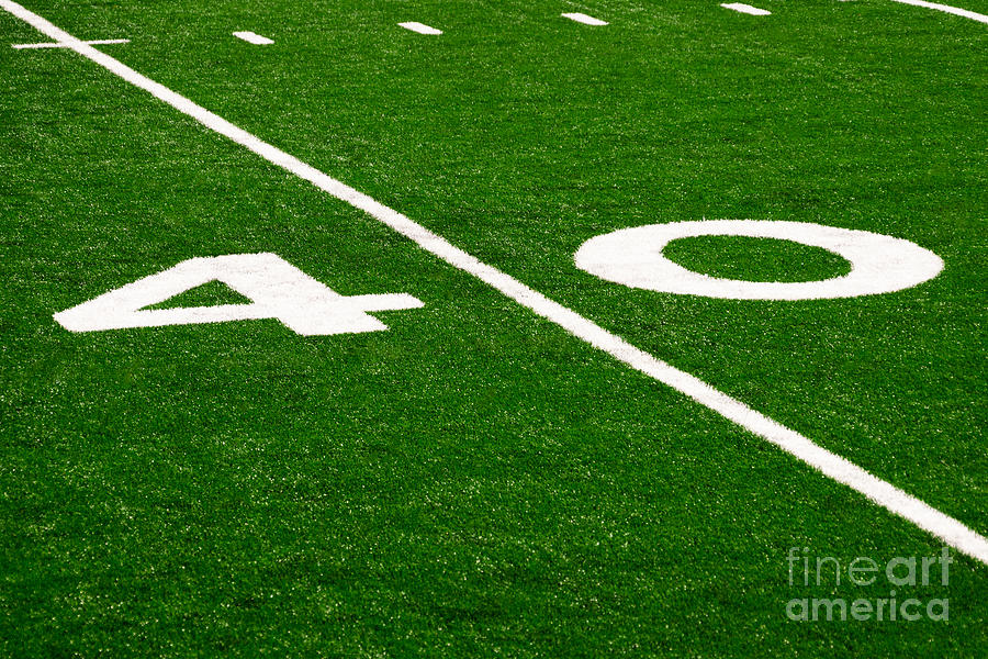 Football Field 40 Yard Line Picture Photograph