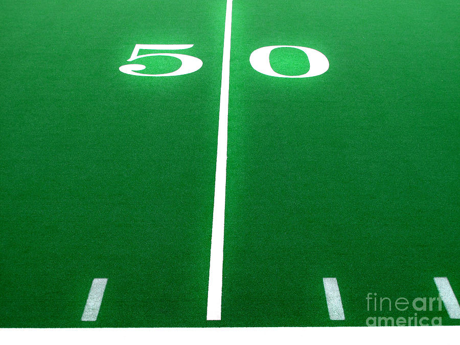 Football Field 50 Yard Line Photograph by Lane Erickson
