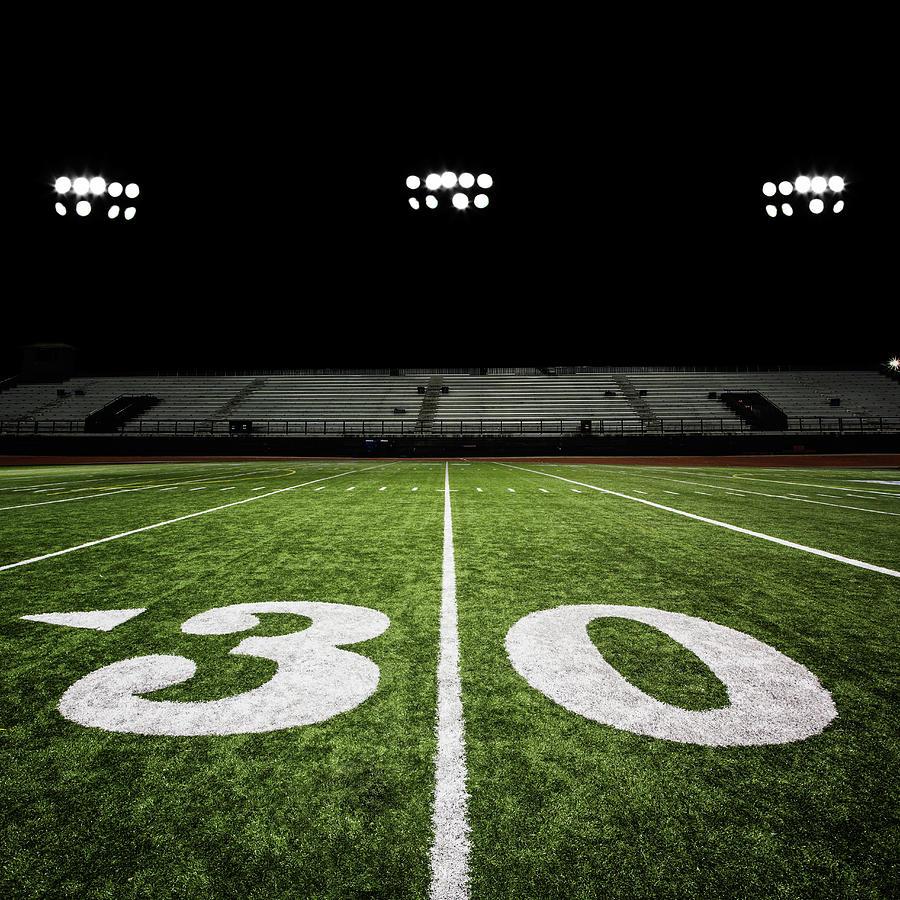 Football Field At Night Photograph by Jgareri