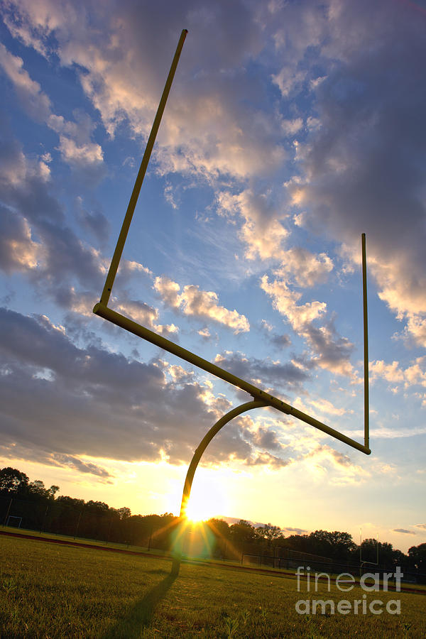 Football Photograph - Football Goal At Sunset by Olivier Le Queinec