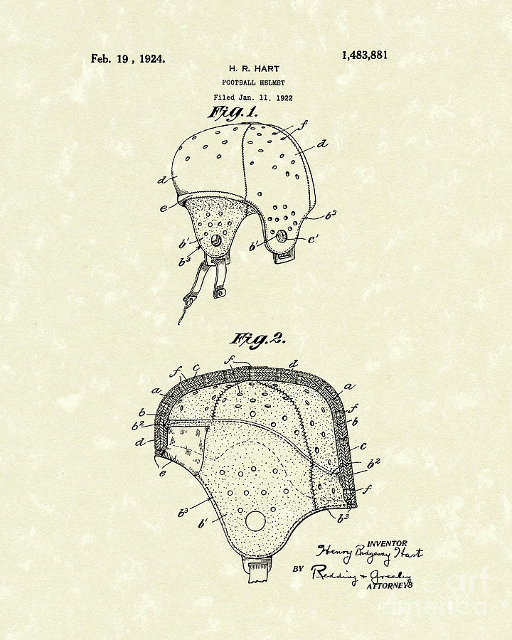 Hart Drawing - Football Helmet 1924 Patent Art by Prior Art Design