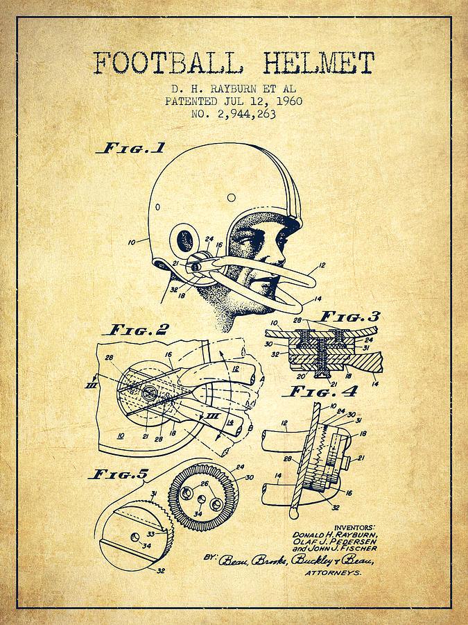 Football Helmet Patent From 1960 - Vintage Digital Art