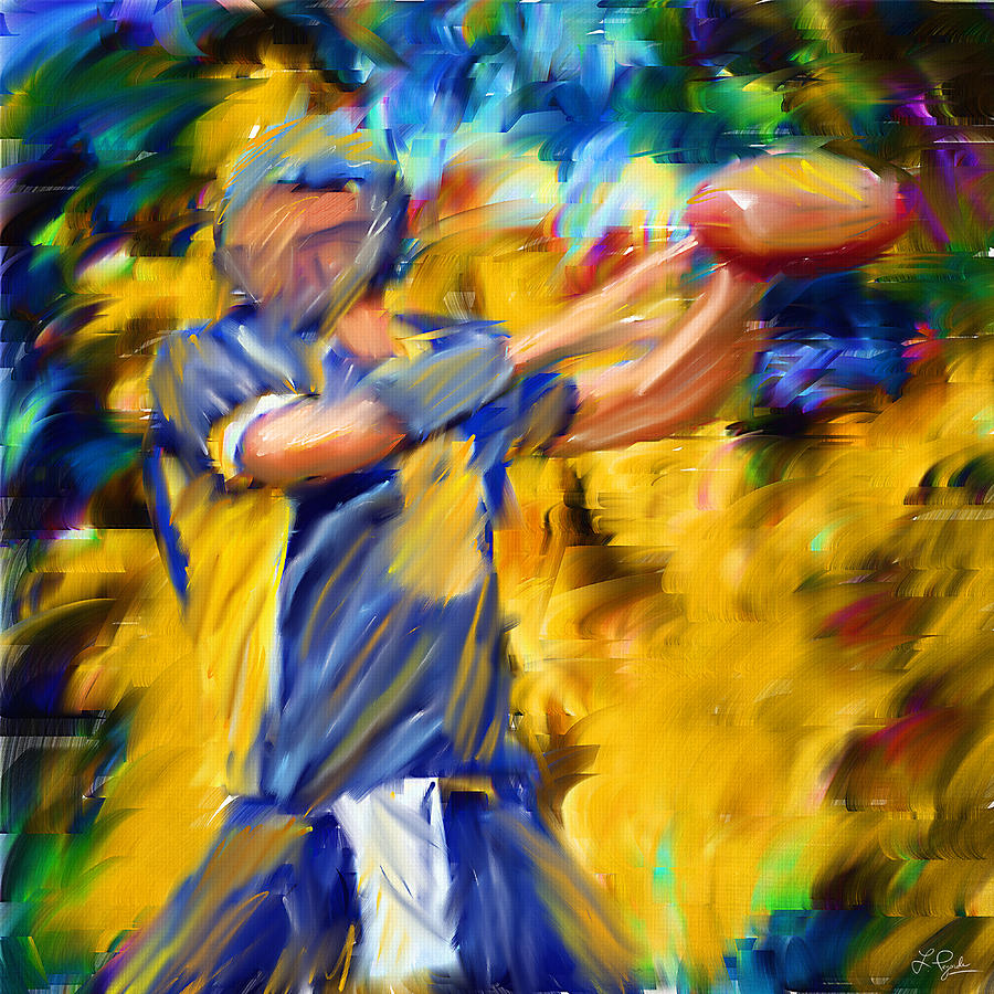 Quarterback Digital Art - Football I by Lourry Legarde